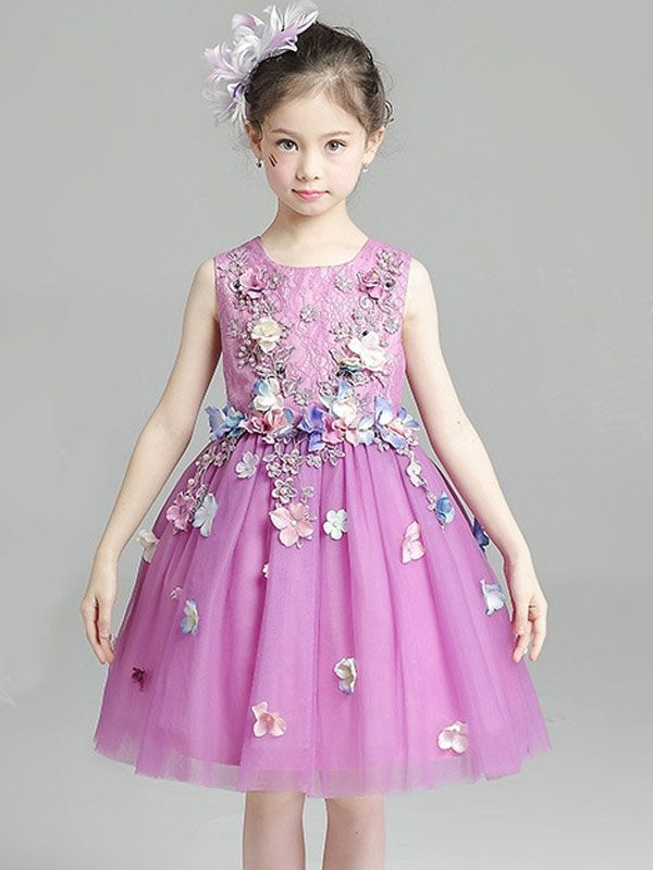 90725971c7ca1 Lovely Girls Princess Lace Tulle Sleeveless Flower Party Dress ...
