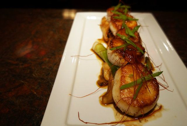 Sweet and spicy XO Scallops at Shanghai Social Club-Chinese street food and late-night tiki drinks on Comm Ave
