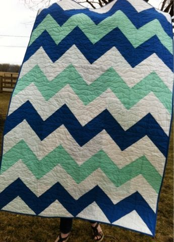 A Farm Wife's Journal. Quick and easy chevron quilt!  Be sure to check out the back, it's pretty cool too.