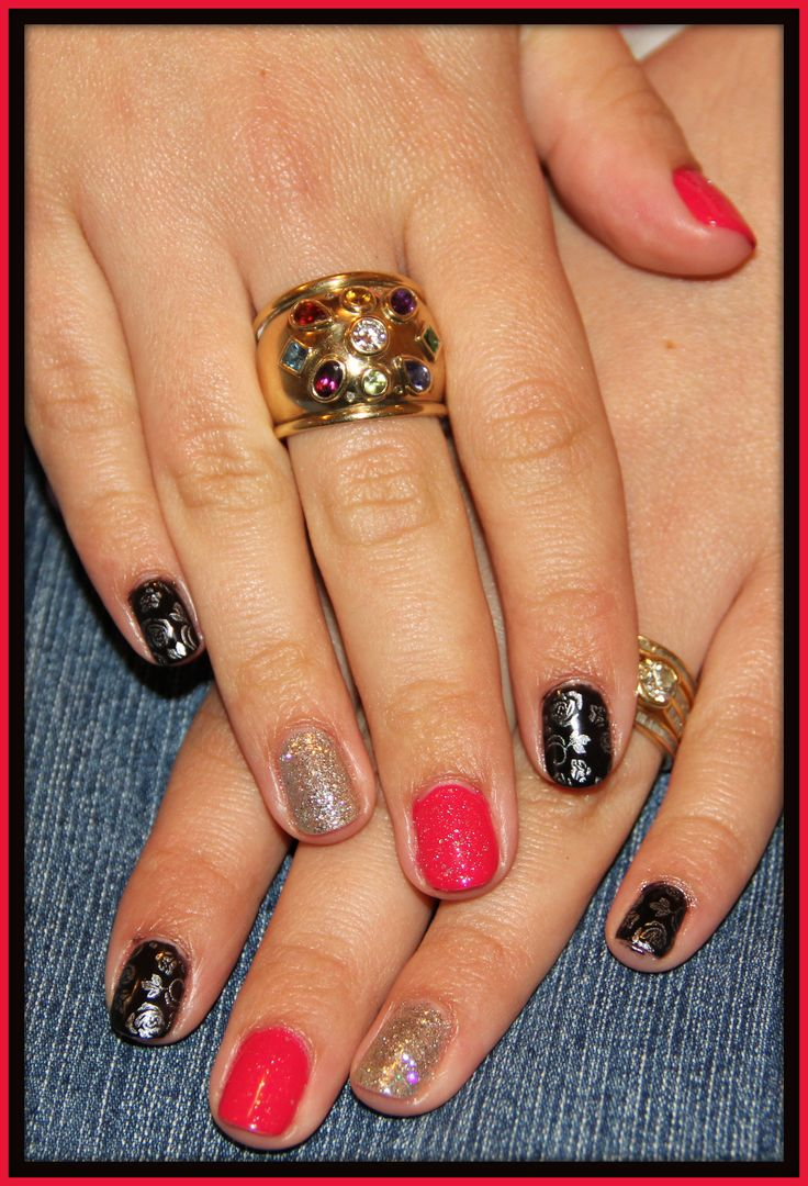 Gelish with stamping