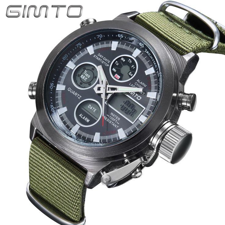 2016 Hot Brand GIMTO Digital de cuarzo relojes deportivos hombres del cuero de Nylon LED militar del ejército de múltiples funciones Reloj Reloj Hombre