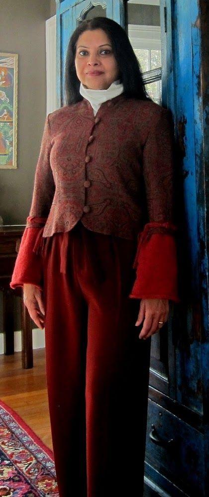 Paisley: Custom wool Kashmir jacket with boiled wool cuffs, Uniqlo matt crepe wide leg pants and fleece turtleneck - 2017