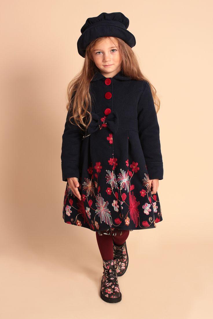 Paltonas fete Girls Blue Embroidery Coat & Hat Set Paltonas cu broderie și pălărie- Set