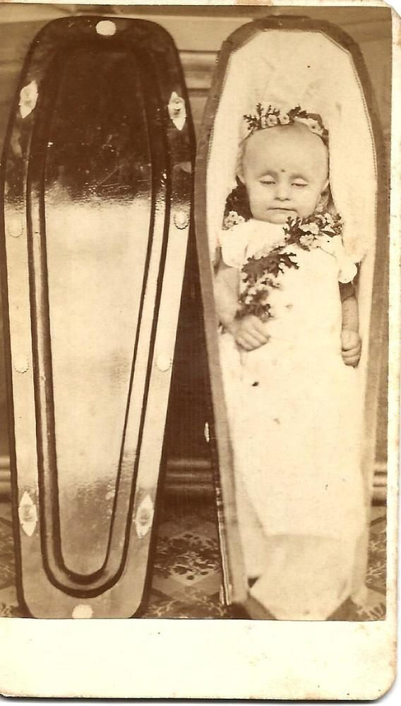 Victorian Real Photo Corpse Baby Casket Funeral Flowers