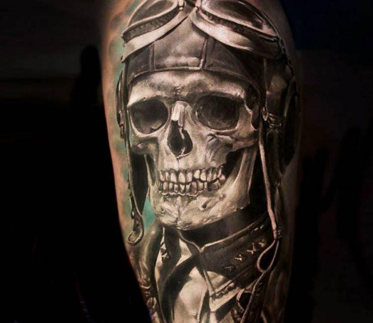 Skull pilot tattoo by Iwan Yug