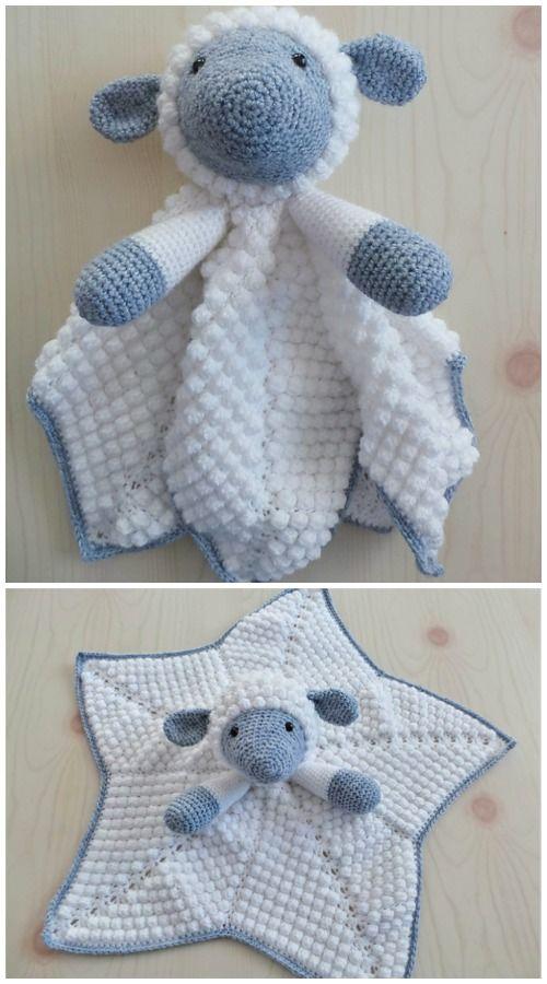 Lamm Baby Crochet Lovey Security Blanket Kostenlose Häkelanleitungen   – amigurumi