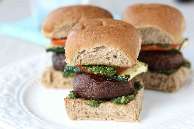 Grilled Mushroom Sliders with Cilantro Almond Pesto by CookinCanuck, via Flickr