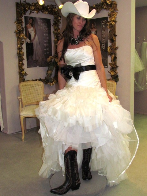 Belle bridal wedding dress laurel cowgirl boots and hat for Dress hats for weddings
