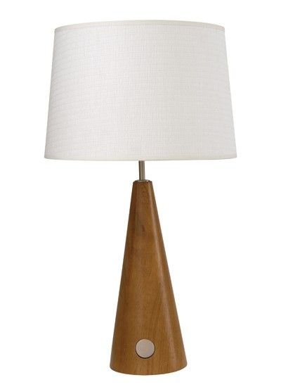 Otway conical touch lamp in teak wood and white shadelightingbeacon lighting