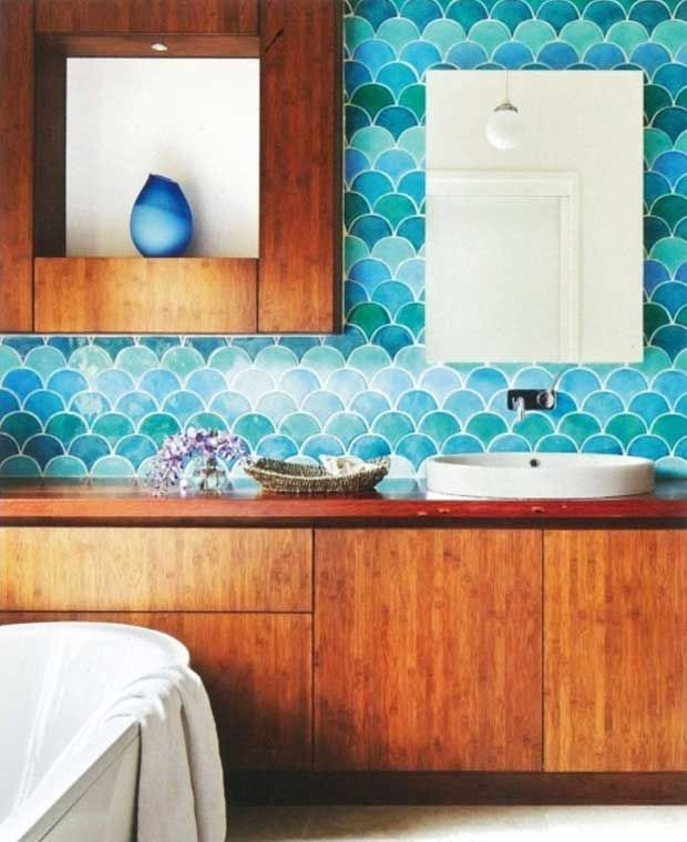 go fish the waves fish scales and scallop pattern trend in interiors decorative eclectic bathroomcolorful - Eclectic Bathroom