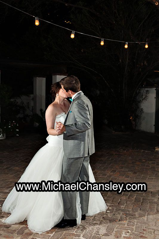 Bride And Groom First Dance Outside Under The Lights At Stillwell House Wedding Venue In
