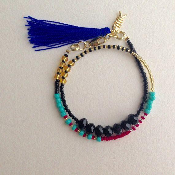 Double Wrap Seed Bead Bracelet friendship by BoutiqueDeLaCreme