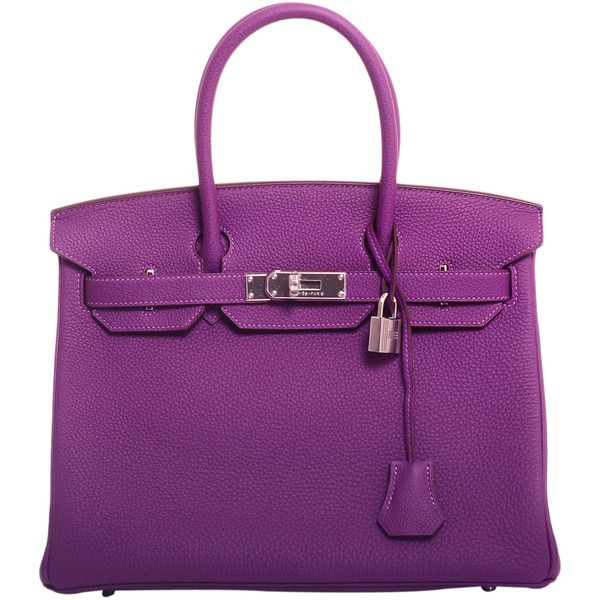 Pre-Owned Hermes Anemone Togo Leather 30cm Birkin Bag with Palladium... ($21,250) ❤ liked on Polyvore featuring bags, handbags, bolsas, borse, purple, leather purses, genuine leather purse, purple handbags, hermes handbags and croc embossed leather handbags