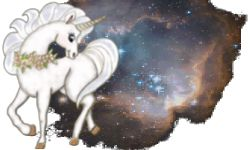 Unicorne :: Tirages divinatoires en ligne, horoscope, voyance et autres mancies — Unicorne posant devant des étoiles nouvellement formées, dans une région de l'Univers (N90) nichée dans le Petit Nuage de Magellan. Située à environ 210 000 années lumière de la Terre, c'est l'une des plus proches galaxies de la Voie Lactée, où est située la planète Terre.