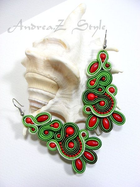 Hand embroided soutache earrings in green and red colors
