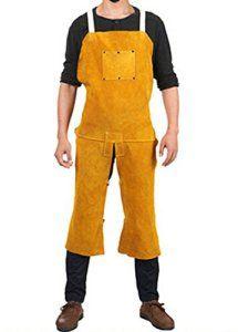 Cow Leather Welding Bib Apron Salopettes et Combinaison Costume de soudure en cuir avec deux poches Jaune: Spécification: Couleur: Jaune;…
