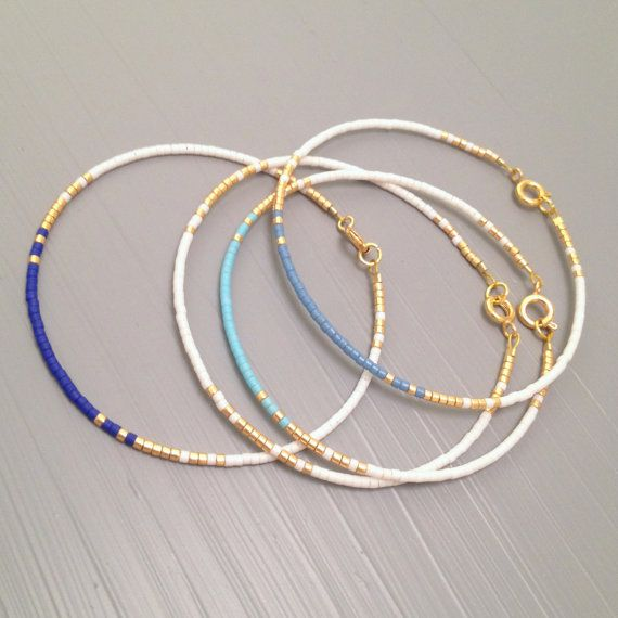 Simple stack bracelet layered bracelet delicate friendship bead bracelet  This listing is for one beaded gold fill Bracelet. Bracelet is made of a