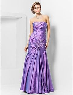 TS Couture® Prom / Formal Evening / Military Ball Dress - Elegant Plus Size / Petite Trumpet / Mermaid Strapless Floor-length Taffeta with Appliques – USD $ 89.99