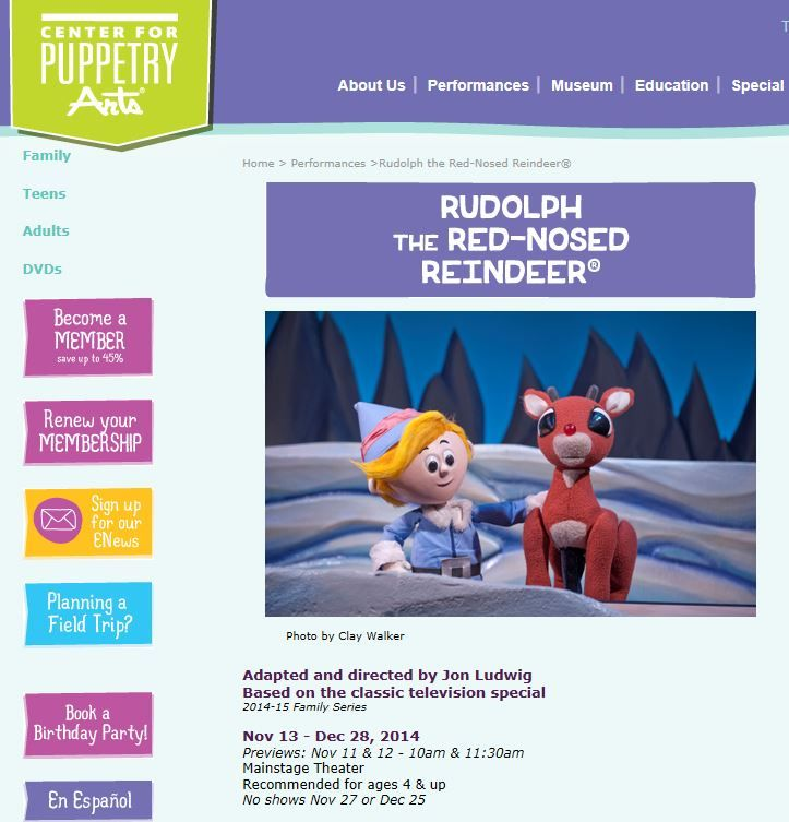 Rudolph Comes Alive On Stage At The Center For Puppetry