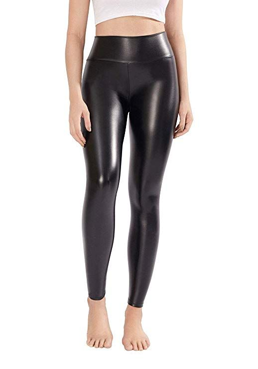 b441775ddeb5fc LAKOSMO Faux Leather Leggings for Women Petite, Black Leather Pants Women  High Waisted Size M