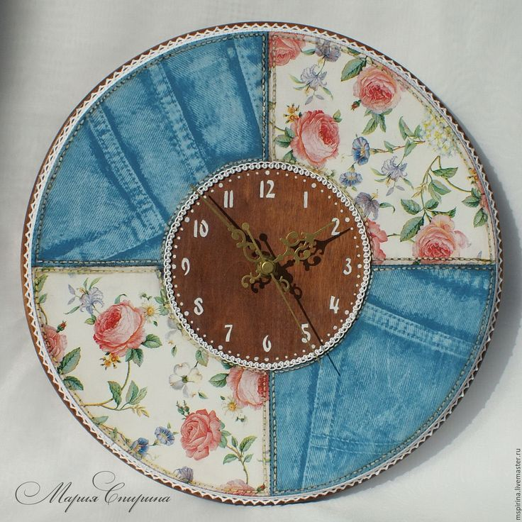 """Купить Часы настенные """"Jeans&Roses"""", пэчворк, джинс - часы настенные, часы настенные большие"""
