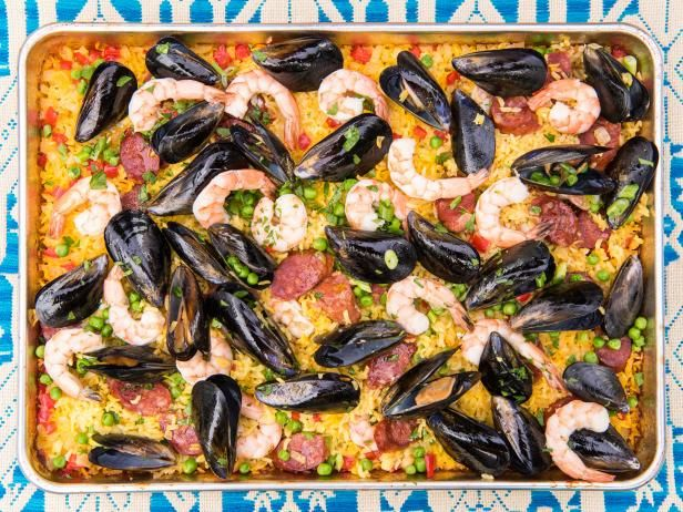 Get Grilled Sheet Pan Paella Recipe from Food Network