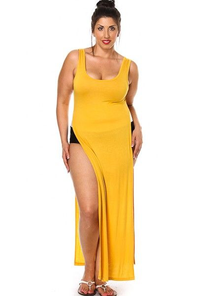 Plus Size Sleeveless Double Slit Long Top
