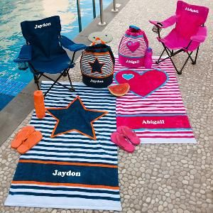 Team up your adorable Swim Bag with a gorgeous Towel and Chair.. perfect for the Beach or any Sports Day!