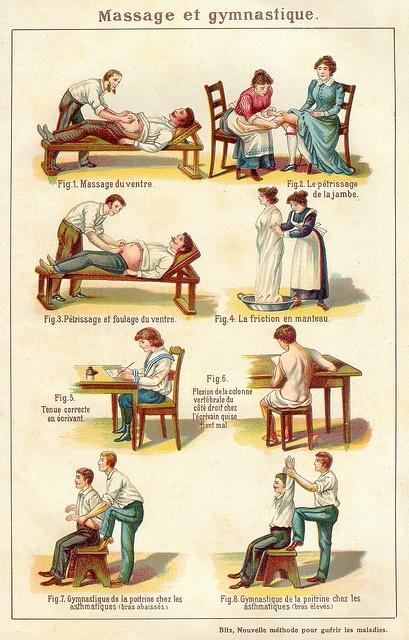 Nog meer geschiedenis van massage. Met wat herkenbare strekkingen van de yogamassage. Leuk historisch beeld. | Boomhutaanzee.nl