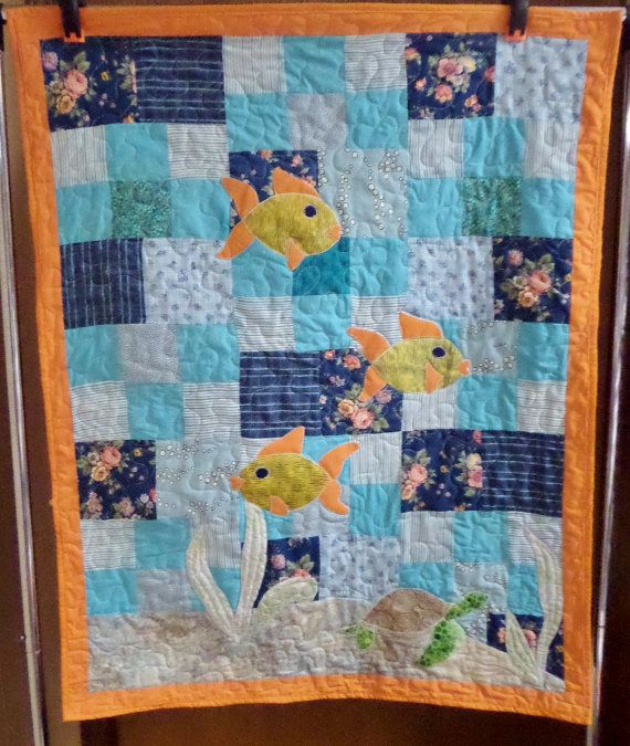 Gender neutral  Nautical ocean fish baby quilt by createdbymammy