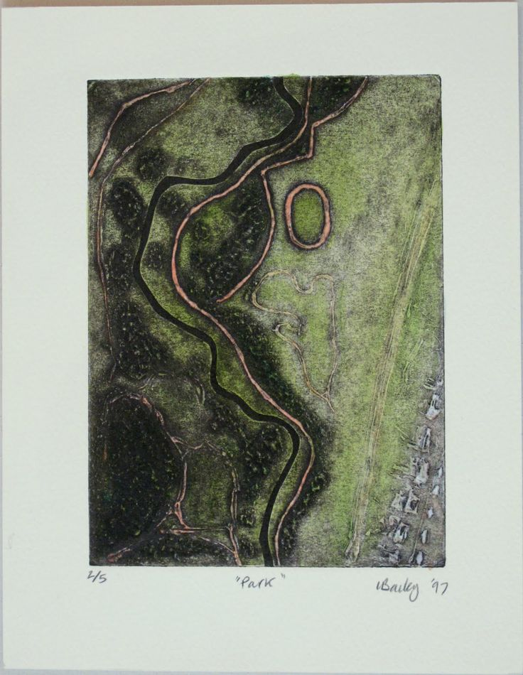 Lynn Bailey. Park. Collagraph tinted with watercolour. Image size 17x12cm paper size 17x22.5cm