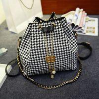 Classical Houndstooth Women Bucket Ladies Handbag Shoulder Bags Tote Purse Messenger Hobo Satchel Bag