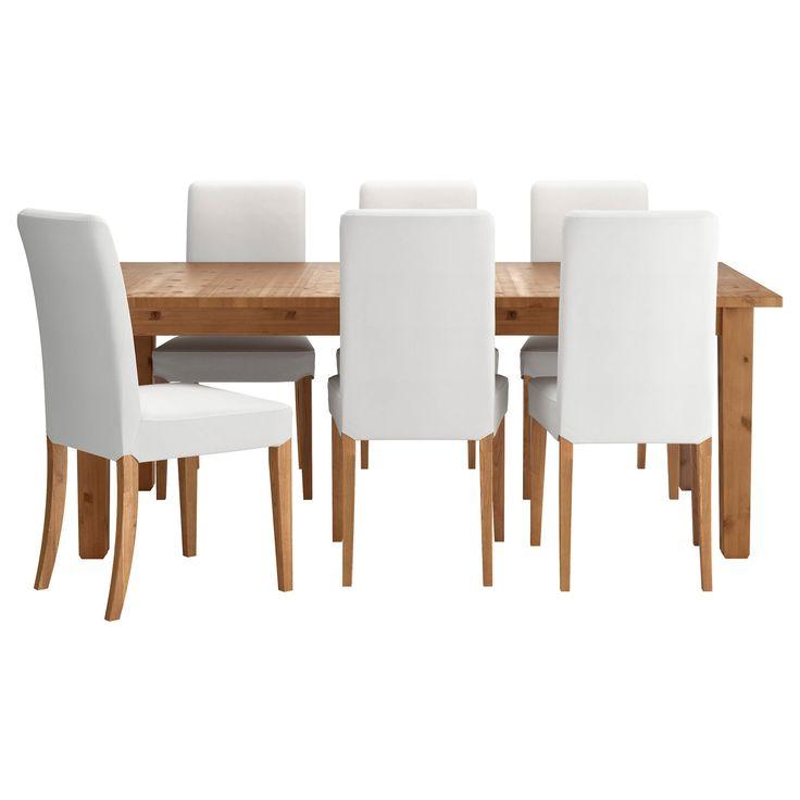 STORNAS/HENRIKSDAL yemek masası ve sandalye seti antika vernik-grasbo beyaz 201 cm | IKEA Yemek Odaları