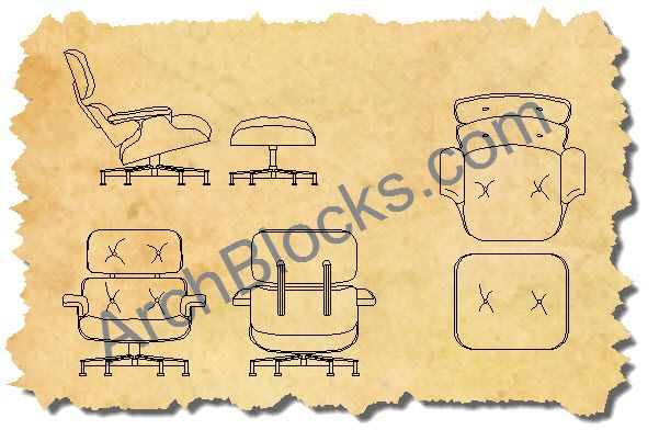 AutoCAD symbols Eames lounge chair and ottoman The views that are