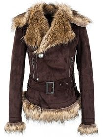 buckled suede coat with faux fur brims