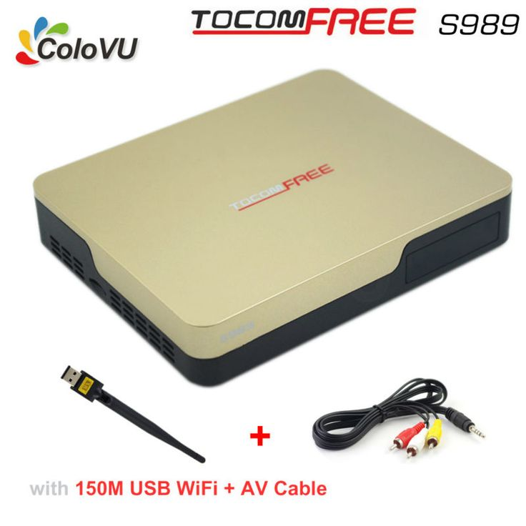 Satellite TV Receiver TocomFree S989 + USB WiFi + AV Cable  with Free IKS SKS IPTV Digital TV Box for Brazil Chile South America