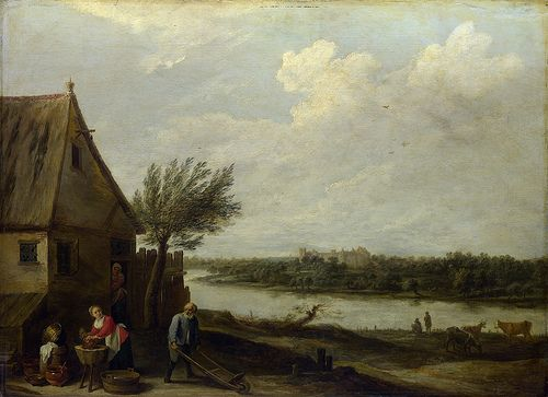 David Teniers the Younger - A Cottage by a River with a Distant View of a Castle [c.1650]