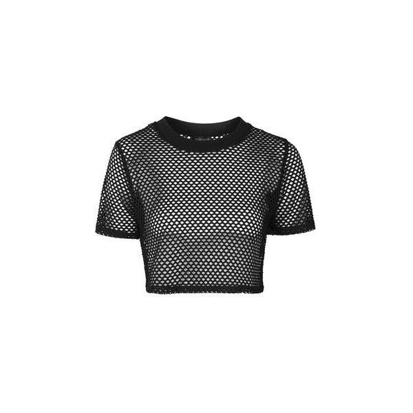 TopShop Airtex Crop Tee ($20) ❤ liked on Polyvore featuring tops, t-shirts, crop tops, black, sports t shirts, sport tee, crop top, polyester t shirts and sport top