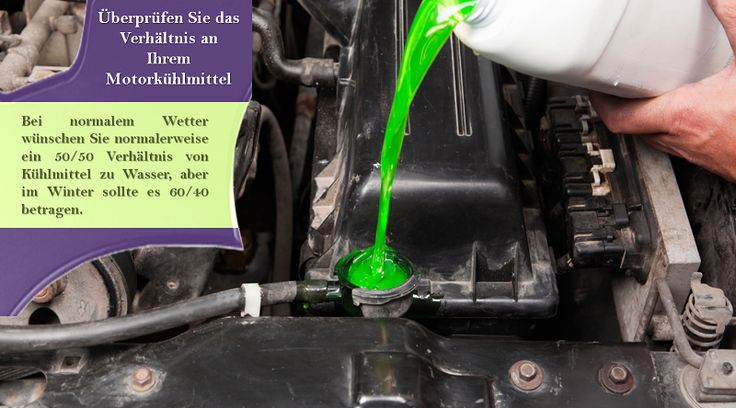 Das Kühlmittel des Motors prüfen Das Kühlmittelsystem eines Fahrzeugs ist nicht nur dafür ausgelegt, den Motor vor Überhitzung zu bewahren, sondern auch vor Korrosion zu schützen. Bevor das Wetter zu kalt wird, stellen Sie sicher, dass Sie Kühlmittel verwenden, das die richtige Mischung aus Frostschutzmittel und Wasser hat. Sie können dies durch den Kauf eines Tester an Ihrem lokalen Auto-Teile-Shop zu tun. #allwetterreifen