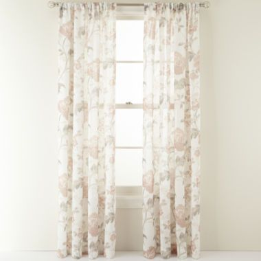 Marthawindow Faded Floral Rod Pocket Sheer Panel Found At