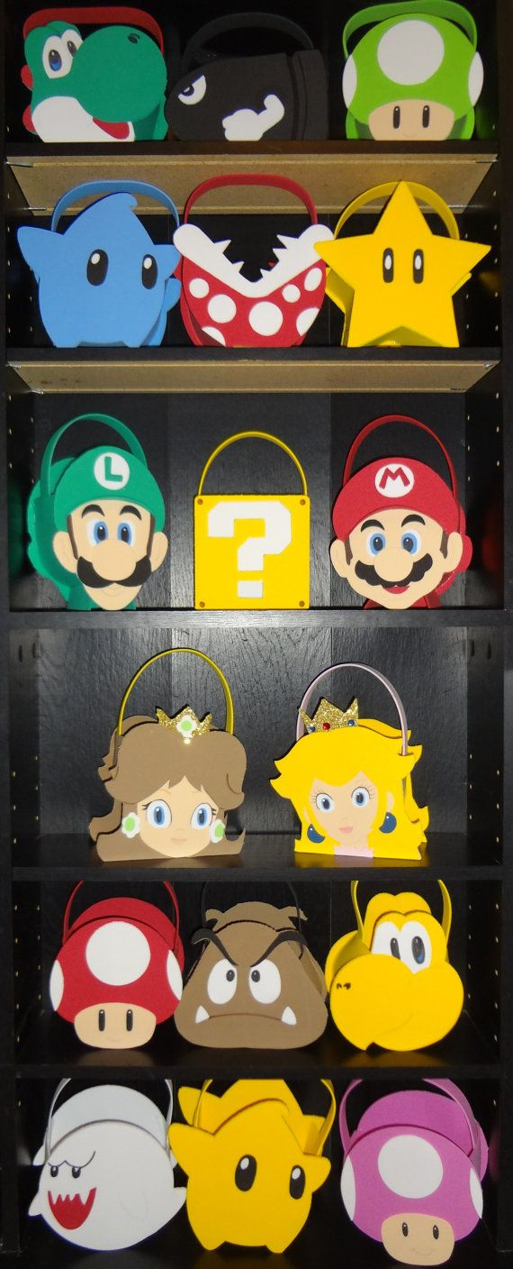 Super Mario Bros Luigi Yoshi Star Inspired party bags favor reserved listing 1 Mario bag. $3.00, via Etsy.