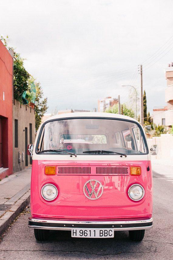 Pink Auto Foto VW Bus Print Retro-Stil Reisefotografie – # Auto #Foto #Reisefoto …   – Hintergrundbilder