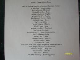 mystery dinner menu