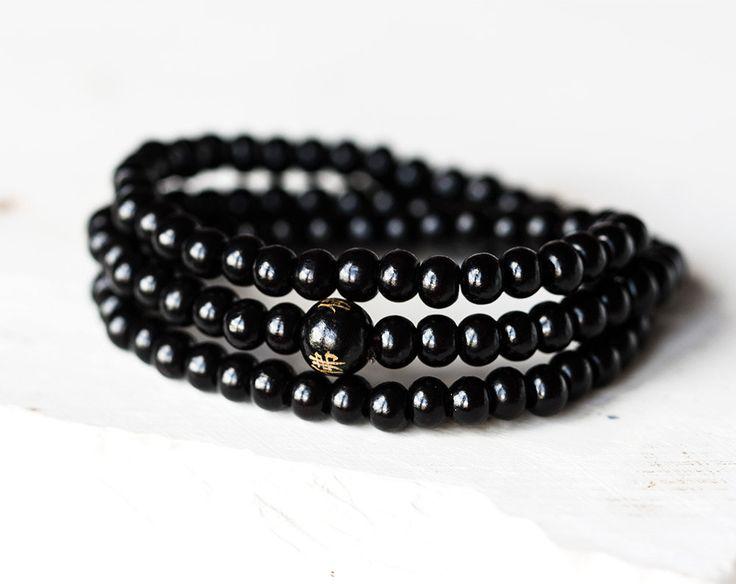 2287_Sandalwood beads bracelet 6 mm, Buddhist meditation, Bead mala bracelet, Black beads bracelet, Elastic bracelet, 3 rows of beads_1 pc. by PurrrMurrr on Etsy