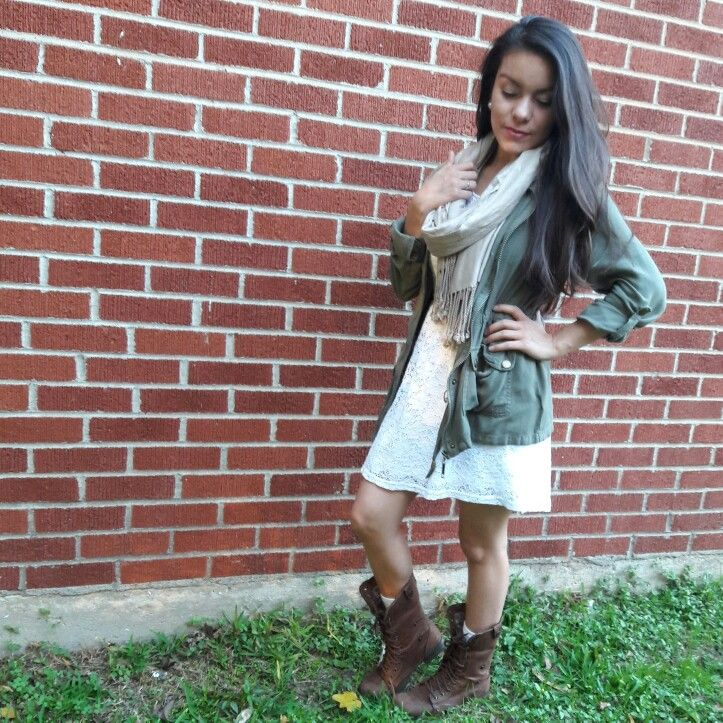 Olive Green Jacket,  White Lace Dress, Paired with combat Boots