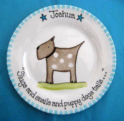 25 best baby gifts images on pinterest baby gifts baby plates and boys personalised gift plate puppy dog slugs and snails negle Gallery