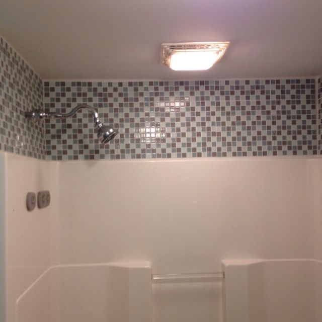 Bathroom Remodel Glass Tile $5 bucks a sheet of glass tile made a cheap and great upgrade toy
