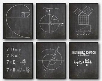 Math Poster Set of 6 Math Prints Fibonacci Golden Spiral Pythagoras's Theorem Euler's Formula Maxwell's Equations Einstein's Theory WB209