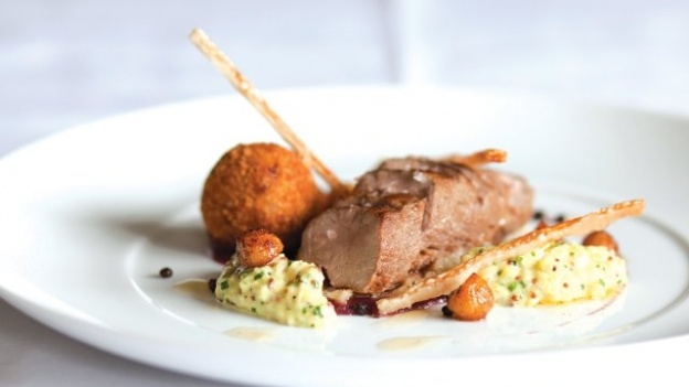 Try this succulent pork dish with crispy bonbons from chef Geoffrey Smeddle, chef-proprietor of The Peat Inn in St. Andrews, Scotland.