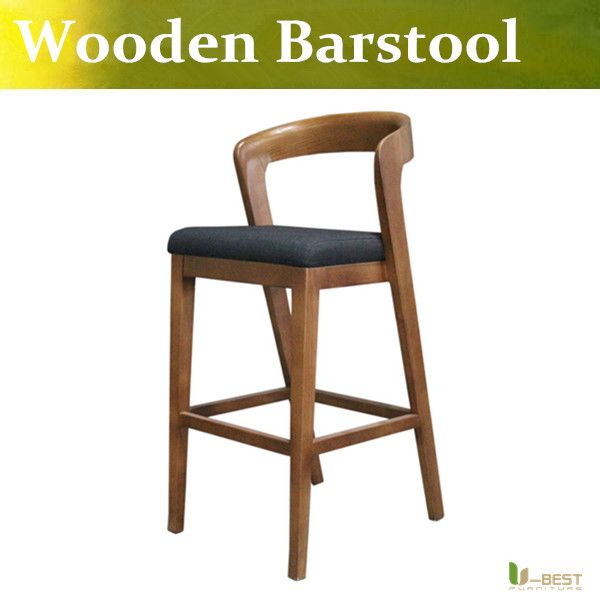 U-BEST High Quality  Wooden  Bar Stool with back rest,high chair,Retro counter stool for modern home